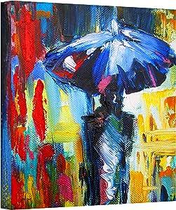 ArtWall Downtown Stroll Gallery Wrapped 帆布艺术 由 Susi Franco 创作 蓝色/红色 24 到 24 英寸 0fra004a2424w