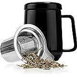 Tealyra - Peak 陶瓷茶杯注入器 - 19 盎司,580ml - 大号茶杯高温陶瓷杯带盖不锈钢注入器,茶杯适合办公室和家庭使用 黑色 19-Ounce SYNCHKG100022