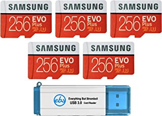 Samsung 三星 256 GB Evo Plus 微型 SD 卡(5 包 EVO + 套装)Class 10 SDXC 内存卡带适配器(MB-MC256G)带(1)Everything But Stromboli Micro & SD 读卡器
