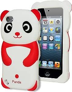 Bastex 3d 熊猫图案硅胶保护套,适用于 Apple Ipod Touch 5,* 5 代 - 彩色W2: Q 196B iT5 PANDA RED+Cloth 红色 1