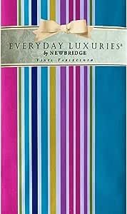 """Newbridge Hannah 亮色休闲条纹乙烯基法兰绒背衬桌布 - 棉糖果条纹室内/室外防水野餐、烧烤和餐桌布 - 适用于露台和厨房用餐 多种颜色 60"""" x 84"""" Oval"""