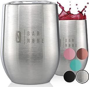 Bar None Wumbler 340 g 2 件套 | 优质不锈钢*杯 玻璃杯 真空隔热双壁不锈钢杯 防碎 不锈钢 杯子 玻璃 亮灰色 12盎司 WINTUMSET2-STEEL12
