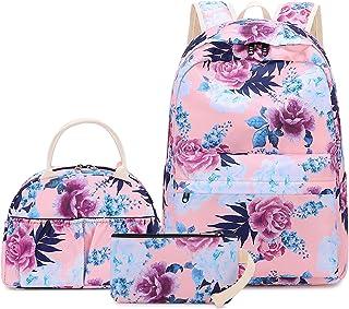 "BLUBOON 青少年背包套装帆布女孩书包,书包 3 合 1 0047Floral Pink 13""Lx5.9""Hx17.7"""