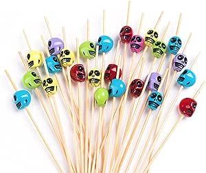 "PuTwo 100ct 1英寸鸡尾*拨片手工竹制牙签 Multicolor Skulls 100ct in 4.7"""