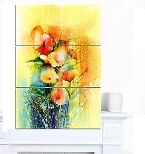 """黄色墙壁艺术油画 Designart 彩色水彩花朵 28x36"""" - 3 Panels PT15039-3PV"""