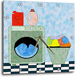 3dRose LLC Red Blue Green Laundry Room 10 by 10-Inch Wall Clock