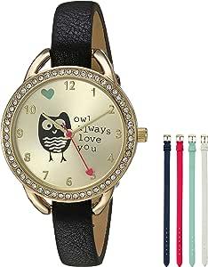 Geneva 女式石英金属和聚氨酯手表,颜色:黑色(型号:AM1673G438-011)