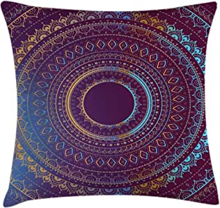 Mandala Decor Throw Pillow Cushion Cover by Ambesonne, Spiral Like Curve Form Winds around Fixed Centre Point of Oriental Pattern, Decorative Square Accent Pillow Case, 16 X 16 Inches, Red Gold