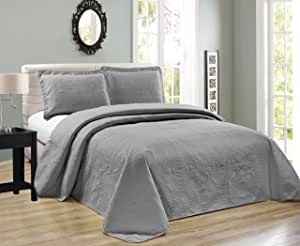 Mk Collection 超大奢华压花枕套床单套装 纯灰色 全新 灰色 Twin/Twin Extra Long