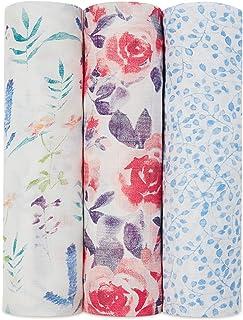 aden + anais 丝滑柔软襁褓,水彩花园,3件装