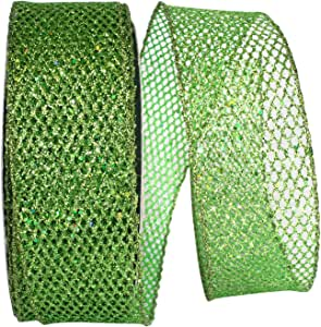Reliant Ribbon 97713W-510-40J Grand Net 闪光有线边缘丝带,祖母绿