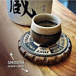 Stinger Ergo-Spin 软木杯垫,适用于饮料,威士忌玻璃,杯子,咖啡杯,原创独特的旋转环设计,家庭酒吧和厨房必备品,假期和婚礼礼物 Party Drinking Game