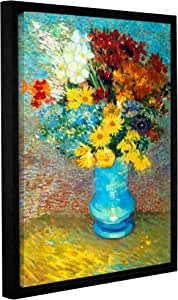 ArtWall Gallery Wrapped Floater Framed Canvas, Vincent Vangogh's Flowers in Blue Vase, 18 by 24-Inch