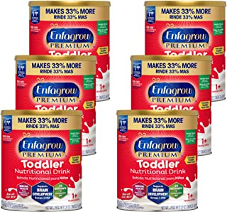 Mead Johnson 美赞臣 Enfagrow Next Step Premium 幼儿营养奶粉,适合1岁以上儿童,香草味,32盎司 罐装(6罐)-Enfamil制造商提供的Omega 3 DHA,益生元 Non-GMO(包装可能有所不同)