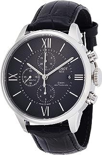 Tissot 男式'T-Classic'瑞士自动不锈钢和皮革休闲手表,颜色:黑色(型号:T0994271605800)
