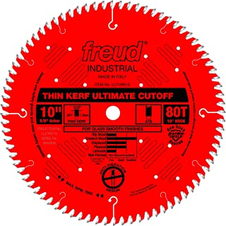 Freud LU74R010 10-Inch 80-Tooth ATB Thin Kerf Cut Off Saw Blade with 5/8-Inch Arbor and PermaShield Coating