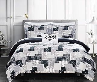 Chic Home Utopia 4 件套双面被套套装拼接波西米亚涡纹花纹印花设计床上用品-装饰枕套 黑色 King BDS11183-AN