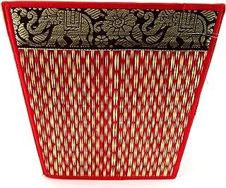 Handwoven 环保天然吸管储物箱 - 装饰性泰国大象可折叠篮 - 浴室、架子、办公室 - 20.32 x 20.32 厘米 覆盆子红 8 x 8 Inches WB-gr