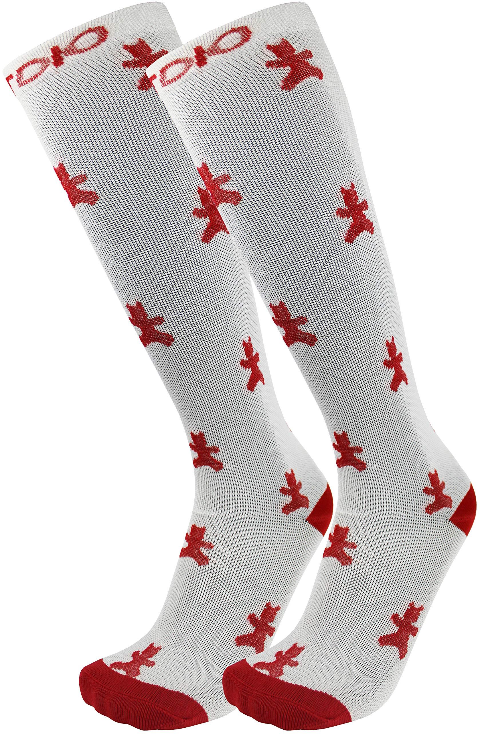 渐进式 15-20mmHG 白色和红色及膝高软糖熊压力袜男女皆宜