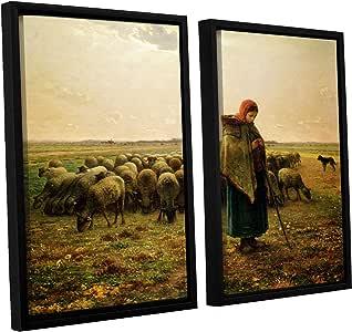 ArtWall Jean Francois Millet's Sheperdess Her Flock 2 件浮标帆布艺术套装 24x32 1mil001b2432f