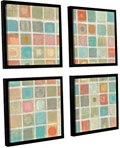 "ArtWall 2vas053e4848f 4 Piece ""Silvia Vassileva's Sea Glass Mosaic"" Floater Framed Canvas Square Set, 48"" x 48"""