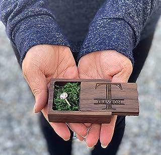 木质戒指盒订婚求婚结婚戒指 持有人盒首饰收纳戒指支架 Slide Walnut