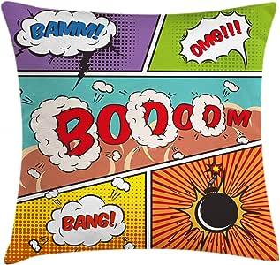 超级英雄抱枕靠垫套 ambesonne 复古漫画 strip 语音泡泡趣味流行艺术程式化复古 HOBBY 风格图像装饰方形 Accent 枕套多色