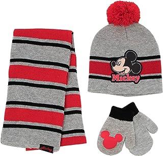 Mickey Mouse 围巾、帽子和手套套装,适合 2-4 岁男孩,灰色/红色