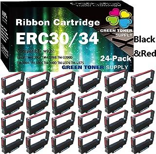 (24 件装,黑色和红色)GTS 兼容 ERC-30 ERC-34 ERC-38 色带盒用于爱普生 ERC38 ERC30 NK506 DPN2700 TMU370 TMU375 打印机