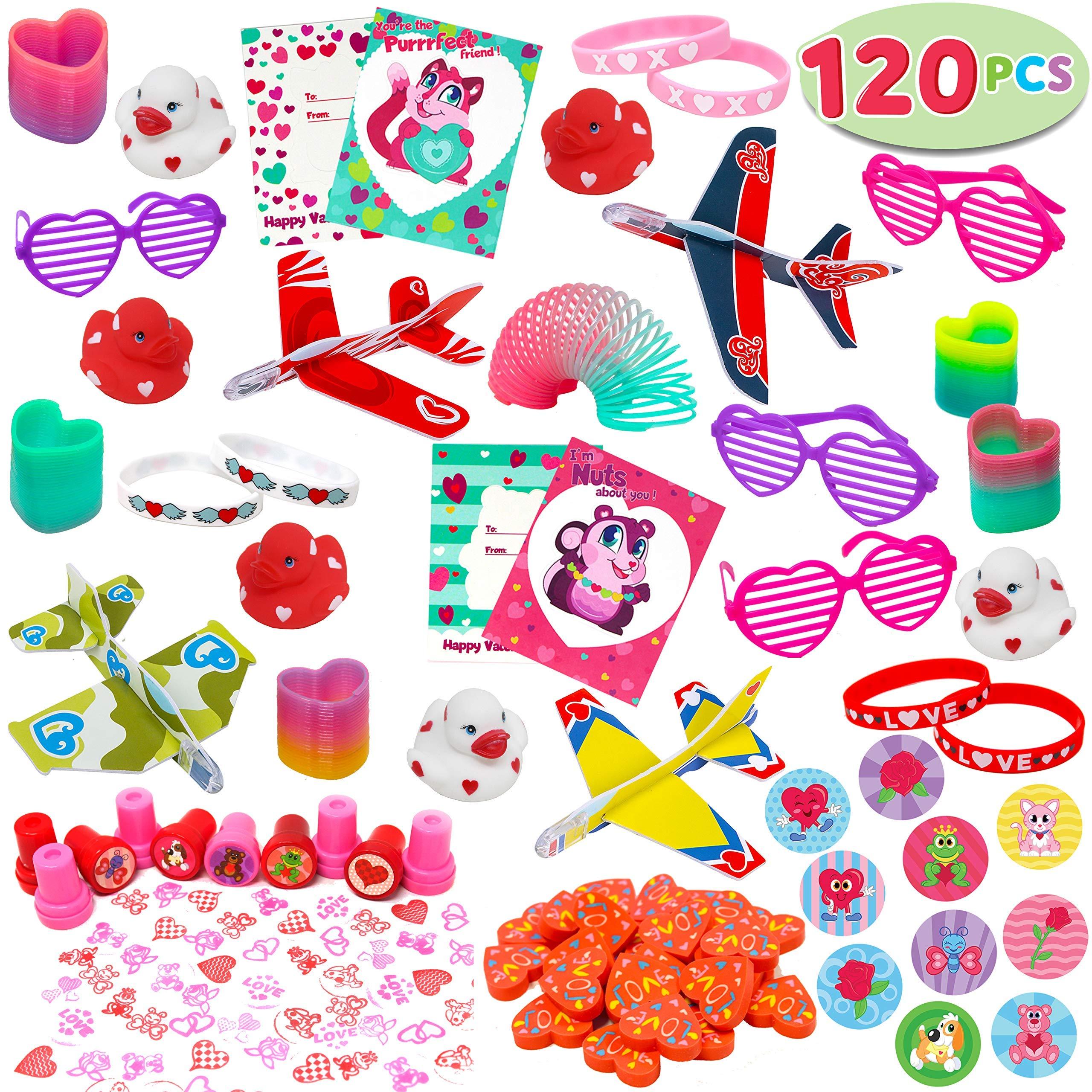 120 + 件情人节派对礼品套装包括心形眼镜、手链、儿童书签、学前装饰、照片道具、婚礼、婴儿洗礼和学校课堂*品。