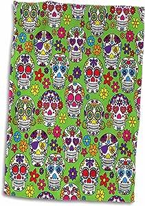 3drose ANNE marie baugh–万圣节–彩色骷髅糖 ALL IN A 排带绿色背景图案–毛巾