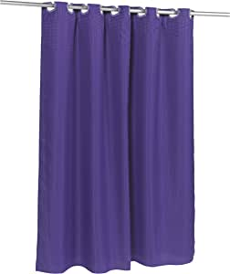 Carnation Home Fashions 预钩华夫格编织面料浴帘,象牙色-P 紫色 SCPRE-WAF/33