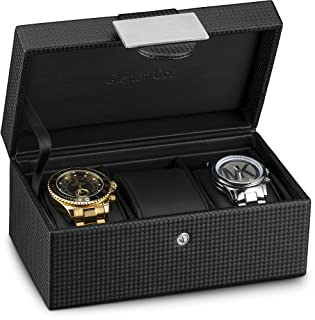 Glenor Co 旅行表壳 - 3 插槽奢华收纳箱,碳纤维设计男式珠宝手表,男式储物袋拥有金属扣和皮革枕,小号旅行时用 - 黑色