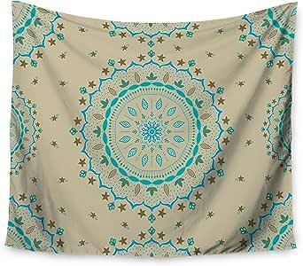 Cristina Bianco Design 蓝色米色曼荼罗壁毯 51 X 60 CB2049AWT01
