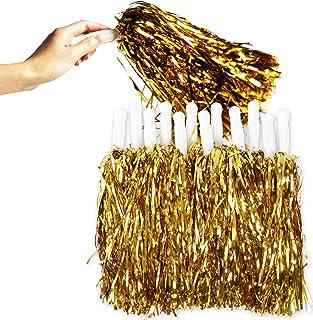 啦啦队长绒球带手柄(金色,12 只装)