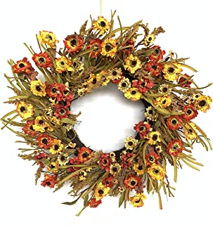 Huashen 黄色雏菊向日葵花环带叶,秋季干燥纸花迷你向日葵家庭收获农舍装饰适用于前门墙窗户 24 英寸