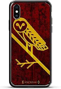 FEATHERY 黄色 OWL 奢华镀铬系列设计师手机壳,适用于 iPhone X 钛黑色装饰