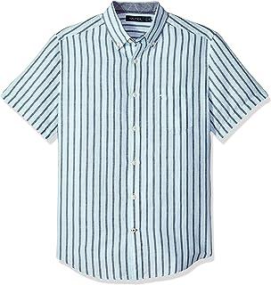 Nautica 男士短袖經典款條紋亞麻扣領襯衫