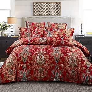 柔软床上用品套装波西米亚花藤花卉别致锦缎面料 Red Damask Paisley 两个