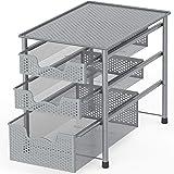 可堆叠 3 层滑动篮子整理抽屉 银色 CB-008-3