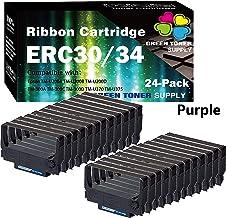 GTS 兼容色帶替換 EPSON ERC30/34/38 色帶盒 適用于 ERC-30 ERC-34 ERC-38(24 件裝,紫色)