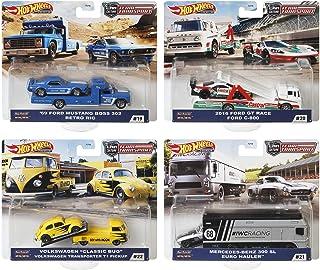 "Hot wheels Team Transport 2020 MIX2 混装 4 件套 整盒售卖 福特 Mustang ""69"" Boss 302 & RETRO RIG(1 套) 福特 2016 GT Race & C-800(1 套) 大众 Classic Bug & Transporter T1(1 套) 梅赛德斯奔驰 300SL & Euro Howler(1 套) 986H-FLF56"