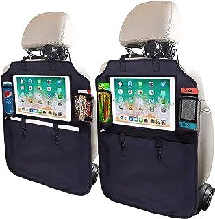 SRAMI 踢脚垫汽车座椅靠背保护装置 座椅背面收纳袋 2 件 XL 带 1 个纸巾盒透明 33.02 cm iPad 座大收纳袋