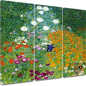 ArtWall Gustav Klimt 'Farm Garden' 3-Piece Gallery Wrapped Canvas Artwork, 24 by 36-Inch