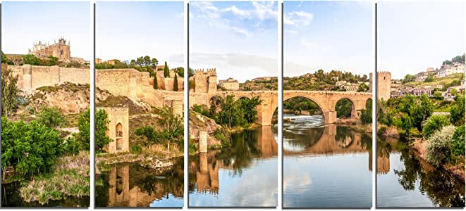 "Designart PT7055-40-20 Toledo Bridge 西班牙景观照片帆布版画 60x28"" - 5 Equal Panels PT7055-401"