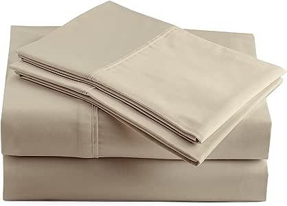 Peru Pima 奢华防皱 250 支密织秘鲁比马棉床单套装 拿铁白 加州King size CO024564