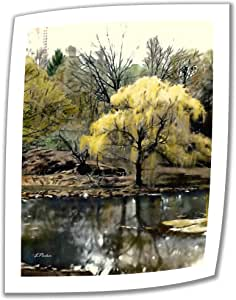 Art Wall Spring Central Park 18 by 14-Inch Unwrapped Canvas Art by Linda Parker with 2-Inch Accent Border