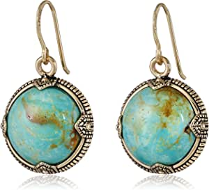"Barse ""Village"" Genuine Turquoise Bronze Disc Earrings"