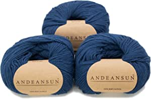 * 婴儿羊驼毛纱重量类别 #1 **、袜子、手指 - 3 根纱 150 克 - 豪华且护理柔软,适合针织和钩编 钢蓝色 #3 DK - Light 16702003AZ1654