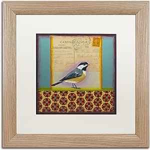 Trademark Fine Art Chickadee 由 Rachel Paxton 创作白色哑光桦木框架艺术品 16x16 ALI2479-T1616MF